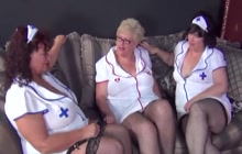 Mature nurses having sex on the couch