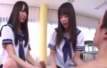 Two Japanese Schoolgirls Give Nice Handjob