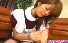 Yu Aizawa sexy maid gives handjob