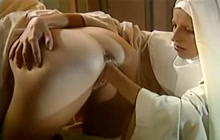 Two nuns getting wild with endowed priest