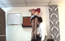 Maid getting some work done