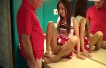 Cheerleader gives footjob