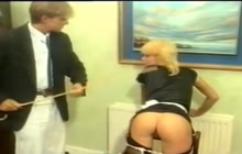 British Maid Bends Over And Gets Caned