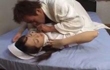 Petite Japanese nurse takes cock