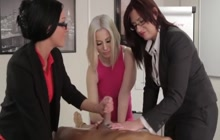 Horny office hoes playing with a cock