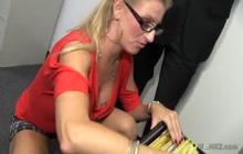 Blonde secretary pussy fucked real hard