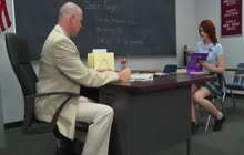 Redhead teen spanked and fucked in class